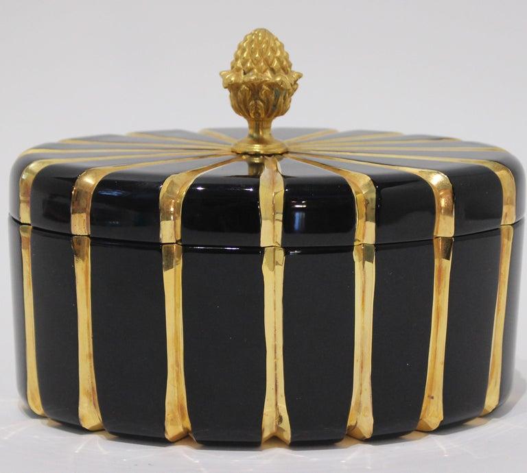 Romantic Baldi Black Glass and 24-Karat Gold Box For Sale