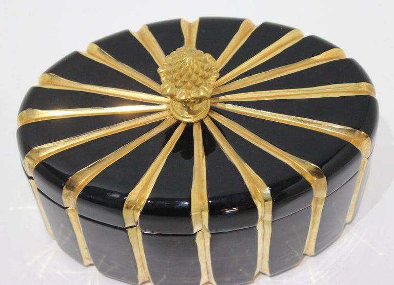 Italian Baldi Black Glass and 24-Karat Gold Box For Sale