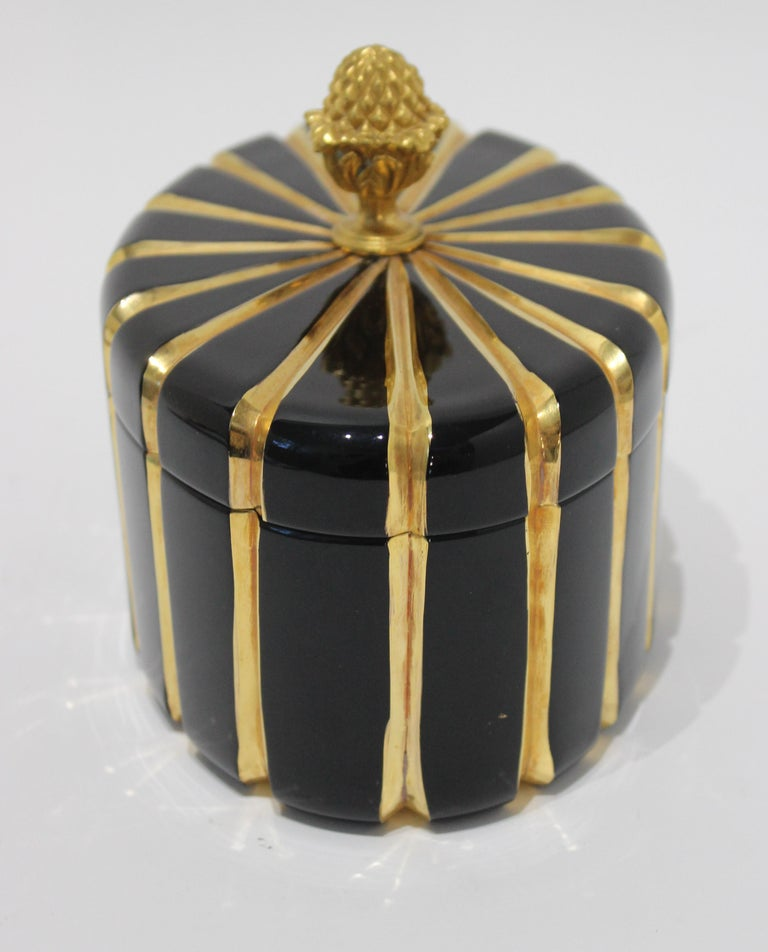 Painted Baldi Black Glass and 24-Karat Gold Box For Sale