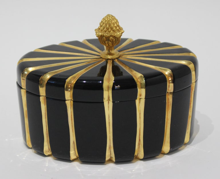 Baldi Black Glass and 24-Karat Gold Box In Good Condition For Sale In West Palm Beach, FL