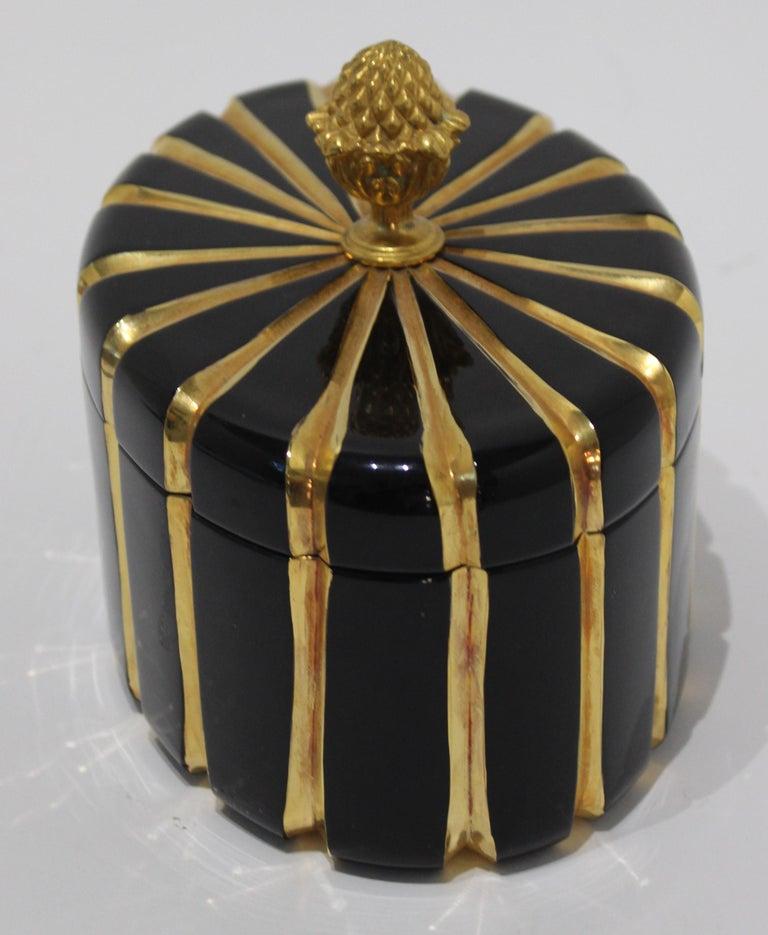Late 20th Century Baldi Black Glass and 24-Karat Gold Box For Sale