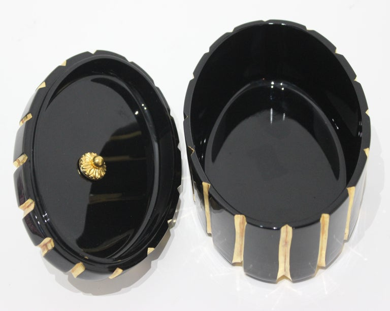 Baldi Black Glass and 24-Karat Gold Box For Sale 1