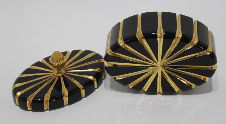 Baldi Black Glass and 24-Karat Gold Box For Sale 2