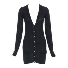 BALENCIAGA 100% silk knit silver hardware button dual pocket long cardigan Fr36