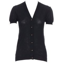 BALENCIAGA 2006 100% wool black copper stud button short sleeve cardigan FR36 S