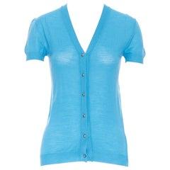 BALENCIAGA 2006 100% wool light blue copper button short sleeve sweater FR36 S