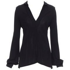 BALENCIAGA 2006 black viscose V-neck button cuff long sleeve top FR36 S