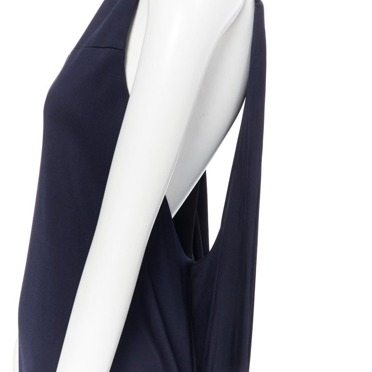 BALENCIAGA 2011 black rayon circle open draped back knee length dress FR38 M For Sale 6