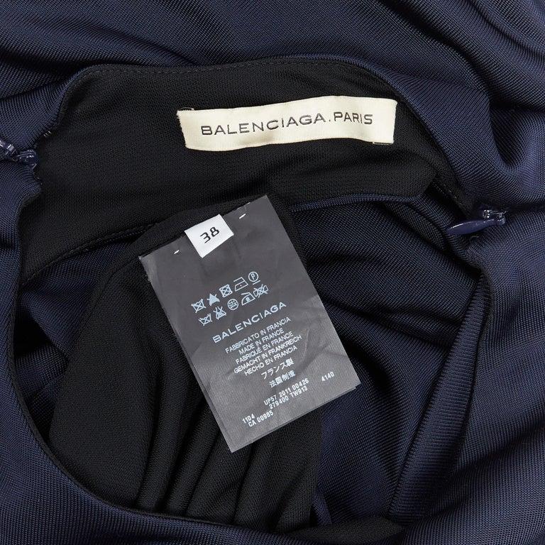 BALENCIAGA 2011 black rayon circle open draped back knee length dress FR38 M For Sale 7