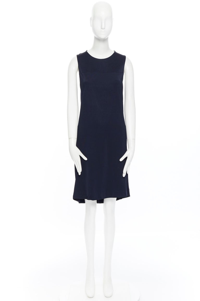 Black BALENCIAGA 2011 black rayon circle open draped back knee length dress FR38 M For Sale