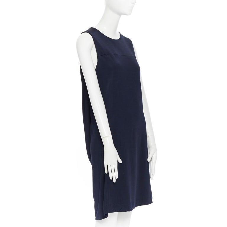 Women's BALENCIAGA 2011 black rayon circle open draped back knee length dress FR38 M For Sale