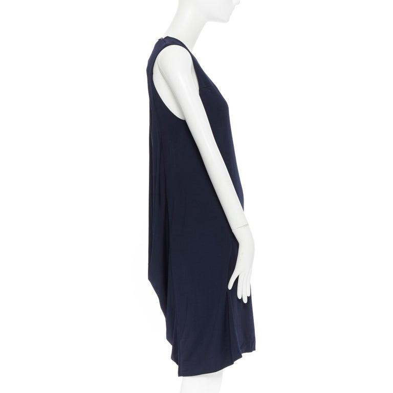 BALENCIAGA 2011 black rayon circle open draped back knee length dress FR38 M For Sale 1