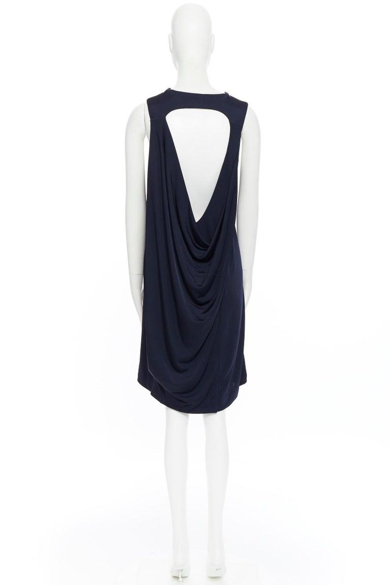 BALENCIAGA 2011 black rayon circle open draped back knee length dress FR38 M For Sale 2