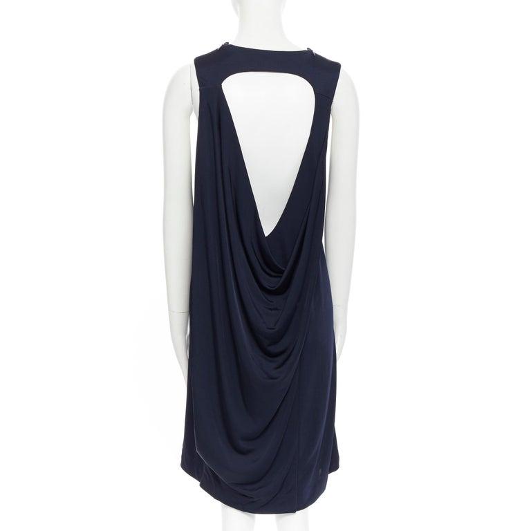 BALENCIAGA 2011 black rayon circle open draped back knee length dress FR38 M For Sale 3