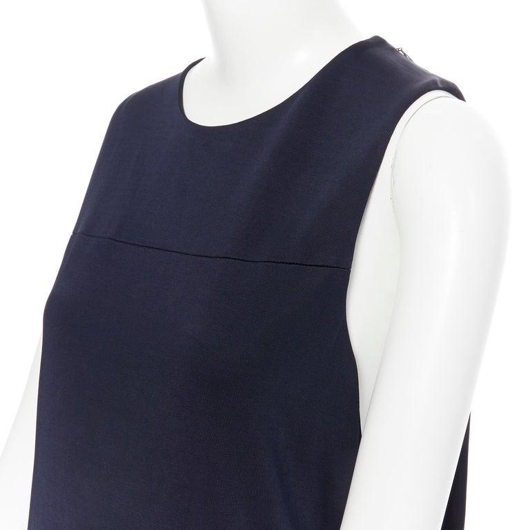BALENCIAGA 2011 black rayon circle open draped back knee length dress FR38 M For Sale 4