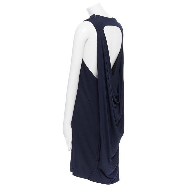 BALENCIAGA 2011 black rayon circle open draped back knee length dress FR38 M For Sale