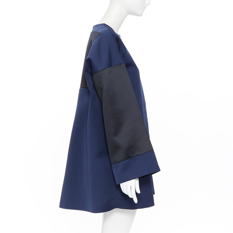 Women's BALENCIAGA 2012 Ghesquiere navy black colorblocked structured cocoon coat FR40 For Sale