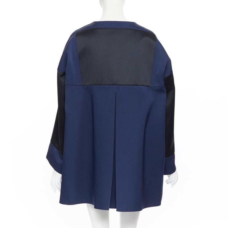 BALENCIAGA 2012 Ghesquiere navy black colorblocked structured cocoon coat FR40 For Sale 1