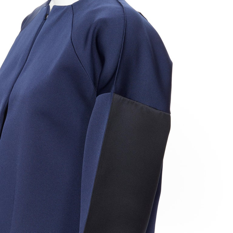 BALENCIAGA 2012 Ghesquiere navy black colorblocked structured cocoon coat FR40 For Sale 2
