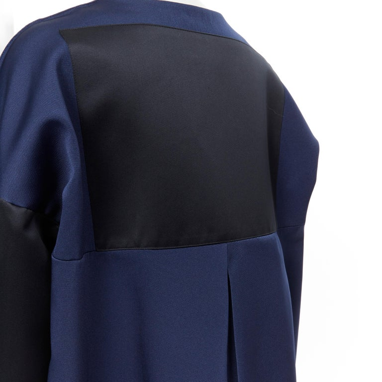 BALENCIAGA 2012 Ghesquiere navy black colorblocked structured cocoon coat FR40 For Sale 4