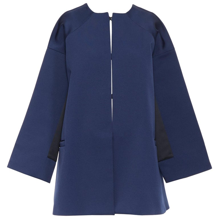 BALENCIAGA 2012 Ghesquiere navy black colorblocked structured cocoon coat FR40 For Sale