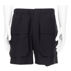 BALENCIAGA 2015 black wool mohair dual flap large cargo pocket mini shorts EU48