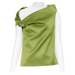 BALENCIAGA 2016 rich emerald green gathered asymmetric off shoulder top FR34 XS