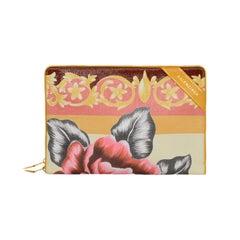 Balenciaga 2017 Orange Multi-Colored Leather Floral Print Blanket Pouch Bag