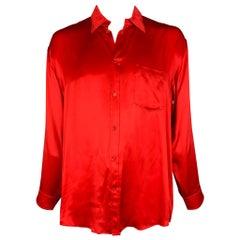 BALENCIAGA 2019 Size XXL Red Silk Button Up Long Sleeve Shirt