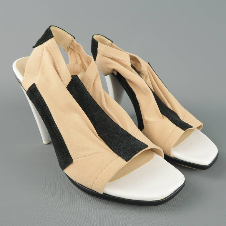 d5dbdcfde48f ... White Cone Heel Peep Toe Sandals For Sale. BALENCIAGA by Nicolas  Ghesquire sandals come in a beige nude stretch nylon with black suede panels