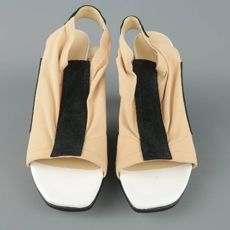 3a9a49c47b83 BALENCIAGA 5.5 Beige Nude Nylon   Black Suede White Cone Heel Peep Toe  Sandals For Sale