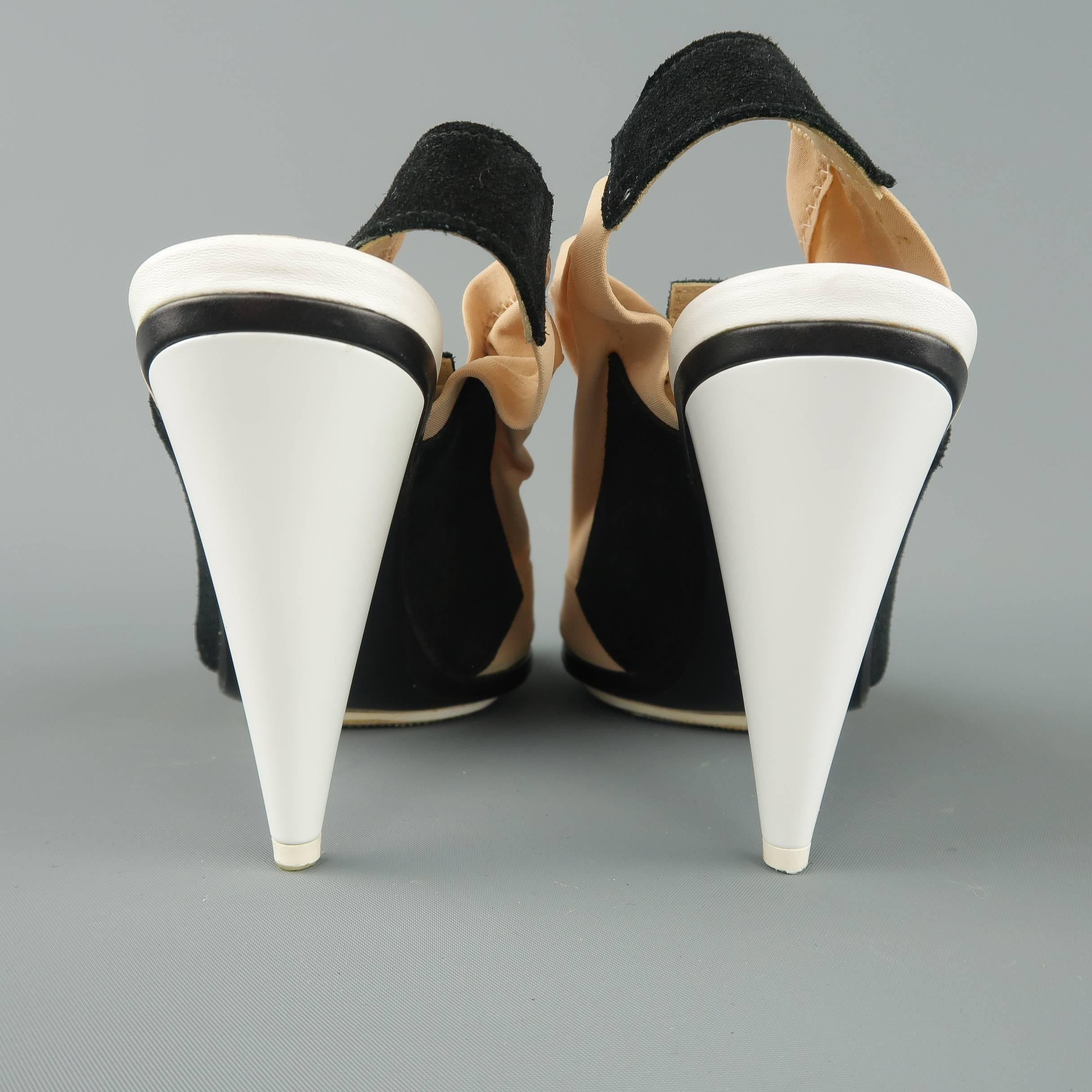3622585e3b61 BALENCIAGA 5.5 Beige Nude Nylon and Black Suede White Cone Heel Peep Toe  Sandals at 1stdibs