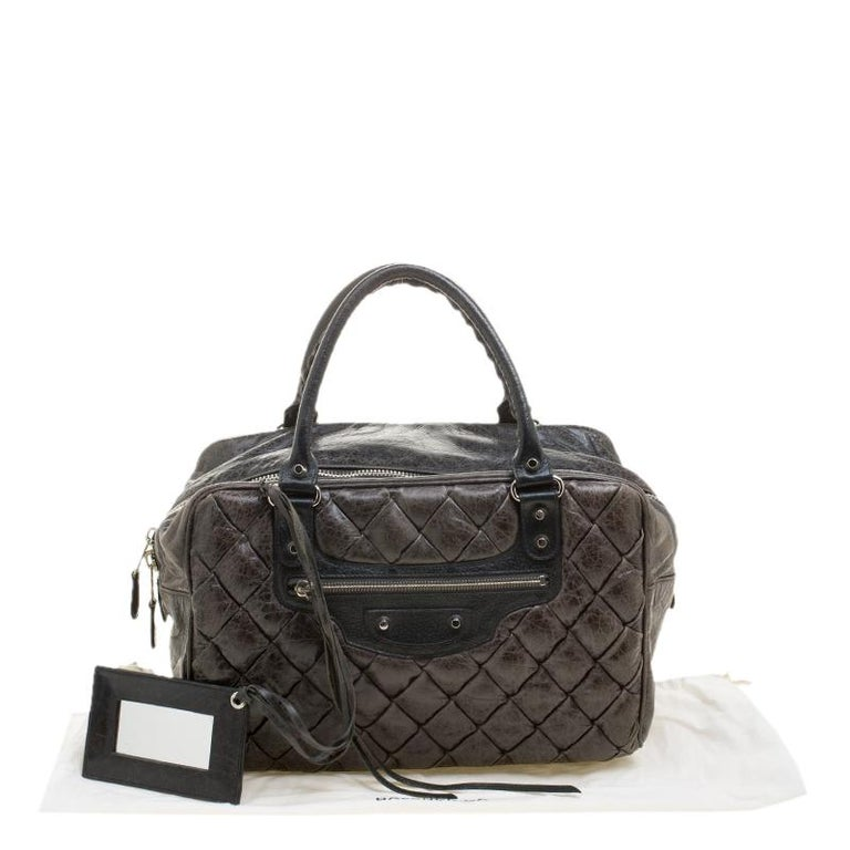 Balenciaga Anthracite Quilted Chevre Leather Satchel For Sale 7