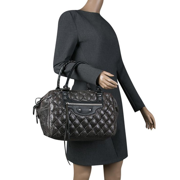 Black Balenciaga Anthracite Quilted Chevre Leather Satchel For Sale