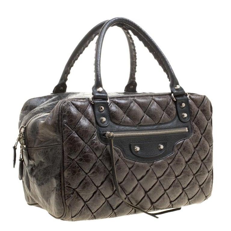 Balenciaga Anthracite Quilted Chevre Leather Satchel In Good Condition For Sale In Dubai, Al Qouz 2