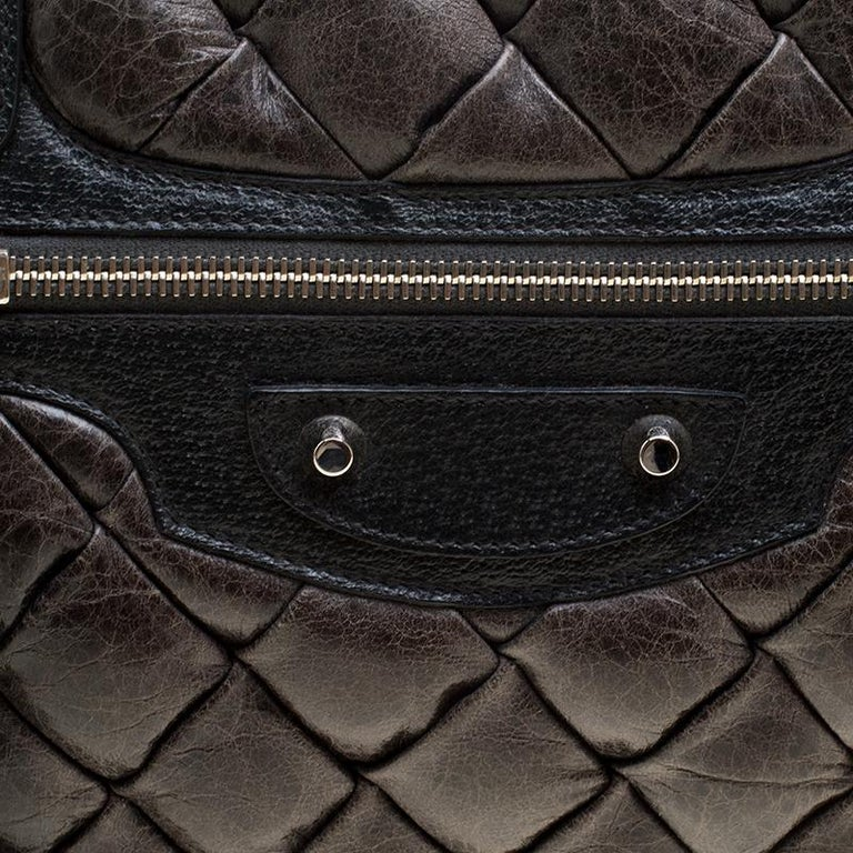Women's Balenciaga Anthracite Quilted Chevre Leather Satchel For Sale