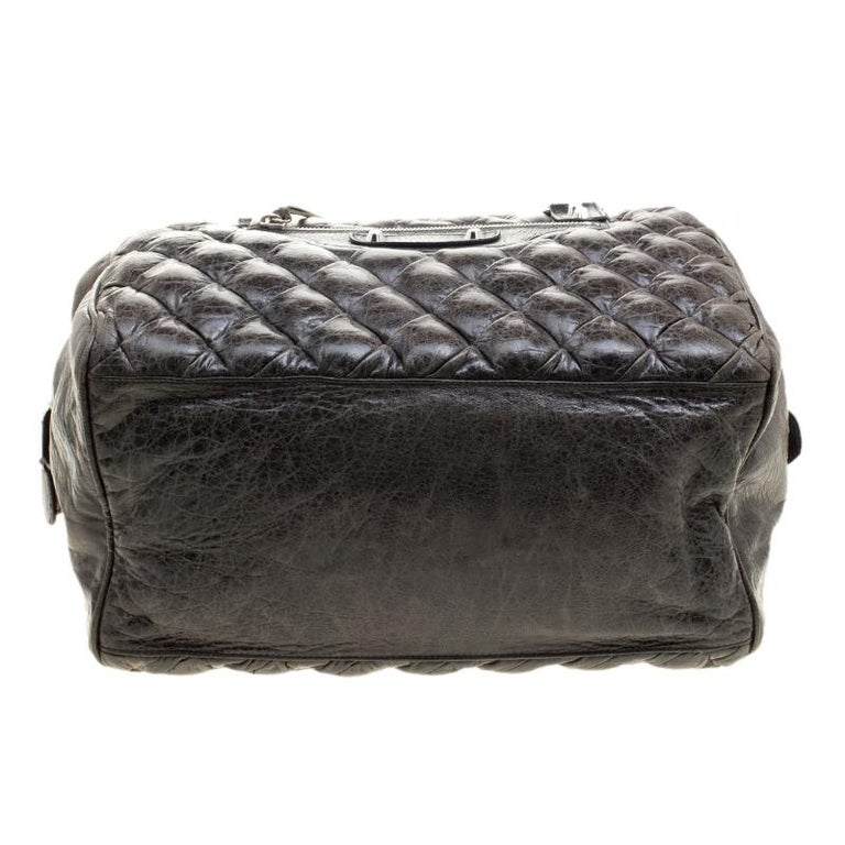 Balenciaga Anthracite Quilted Chevre Leather Satchel For Sale 1
