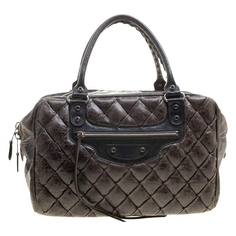 Balenciaga Anthracite Quilted Chevre Leather Satchel For Sale