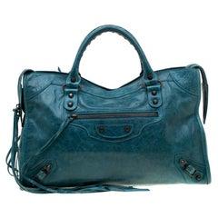 Balenciaga Aquamarine Leather Classic City RH Tote