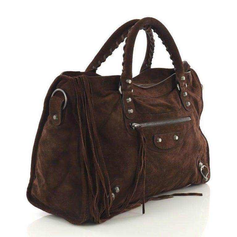 Black Balenciaga Baby Daim City Classic Studs Bag Suede Medium