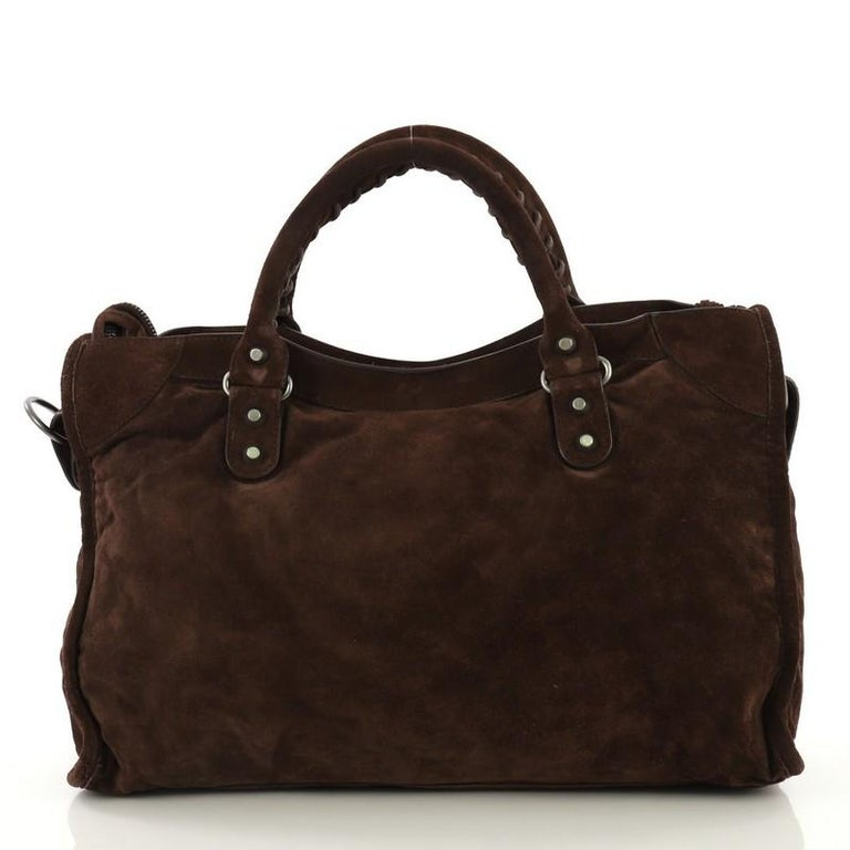 Balenciaga Baby Daim City Classic Studs Bag Suede Medium In Good Condition In New York, NY