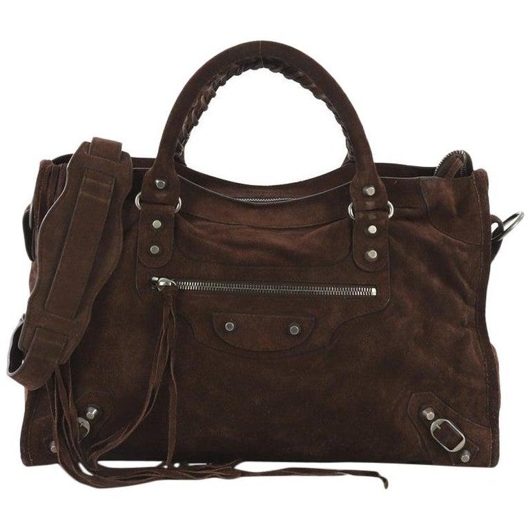 Balenciaga Baby Daim City Classic Studs Bag Suede Medium