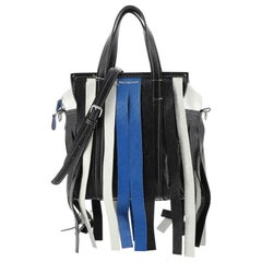 Balenciaga Bazar Convertible Tote Fringe Striped Leather XS
