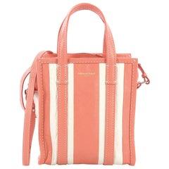 Balenciaga Bazar Convertible Tote Striped Leather XS
