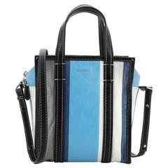 Balenciaga Bazar Convertible Tote Striped Leather XS