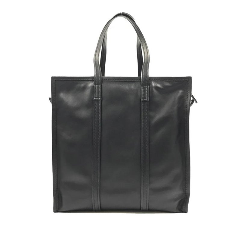 cheap official shop newest style of Balenciaga Bazar Shopper Medium Size Black Leather Ladies Tote Bag 443097