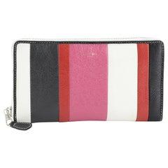 Balenciaga Bazar Zip Wallet Striped Leather Long