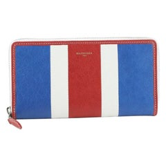 Balenciaga Bazar Zip Wallet Striped Leather Long