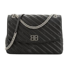 Balenciaga BB Chain Round Shoulder Bag Quilted Embroidered Leather Large