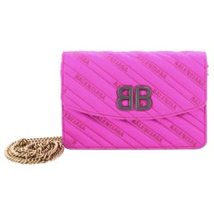 Balenciaga BB Chain Wallet Quilted Satin